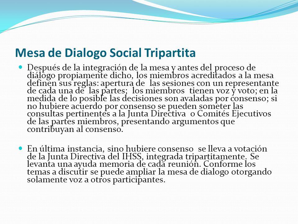 Mesa de Dialogo Social Tripartita Se preparan informes trimestrales de los logros de la mesa de dialogo y se brinda información a los medios de comunicación sobre las decisiones consensuadas.