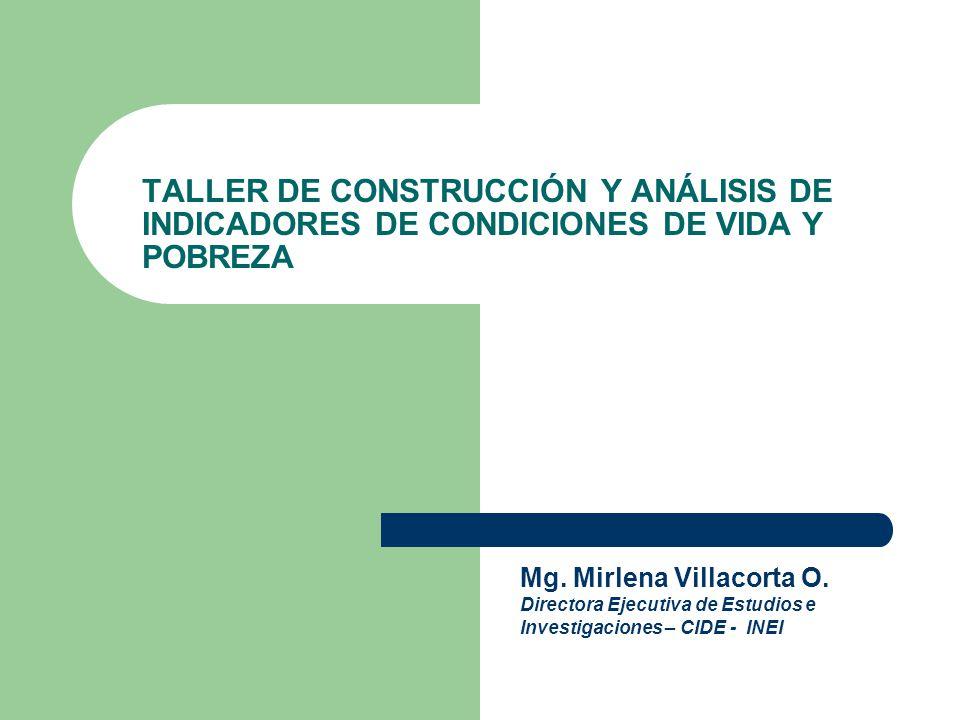 TALLER DE CONSTRUCCIÓN Y ANÁLISIS DE INDICADORES DE CONDICIONES DE VIDA Y POBREZA CIDE Mg. Mirlena Villacorta O. Directora Ejecutiva de Estudios e Inv
