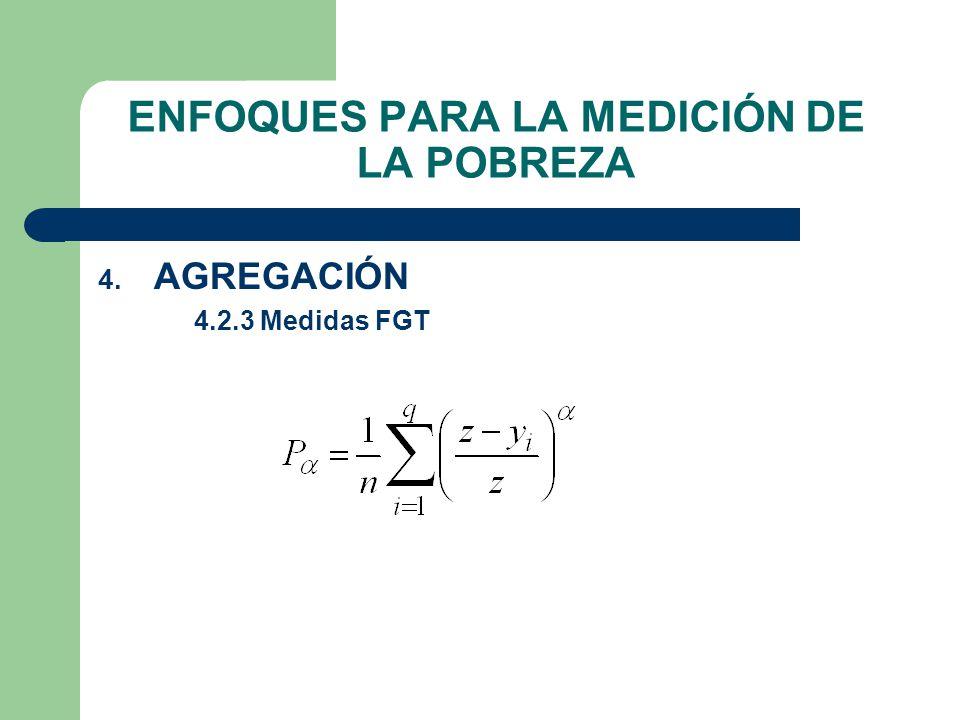 ENFOQUES PARA LA MEDICIÓN DE LA POBREZA 4. AGREGACIÓN 4.2.3 Medidas FGT