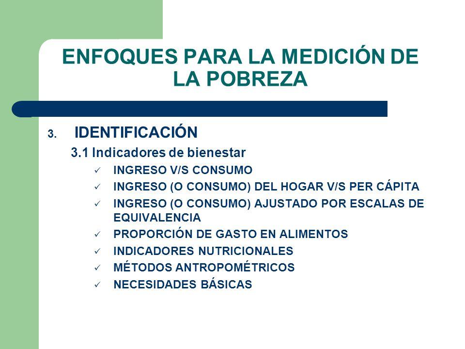 ENFOQUES PARA LA MEDICIÓN DE LA POBREZA 3. IDENTIFICACIÓN 3.1 Indicadores de bienestar INGRESO V/S CONSUMO INGRESO (O CONSUMO) DEL HOGAR V/S PER CÁPIT