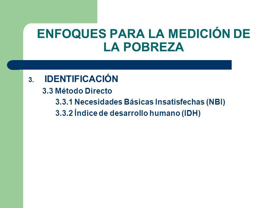 ENFOQUES PARA LA MEDICIÓN DE LA POBREZA 3. IDENTIFICACIÓN 3.3 Método Directo 3.3.1 Necesidades Básicas Insatisfechas (NBI) 3.3.2 Índice de desarrollo