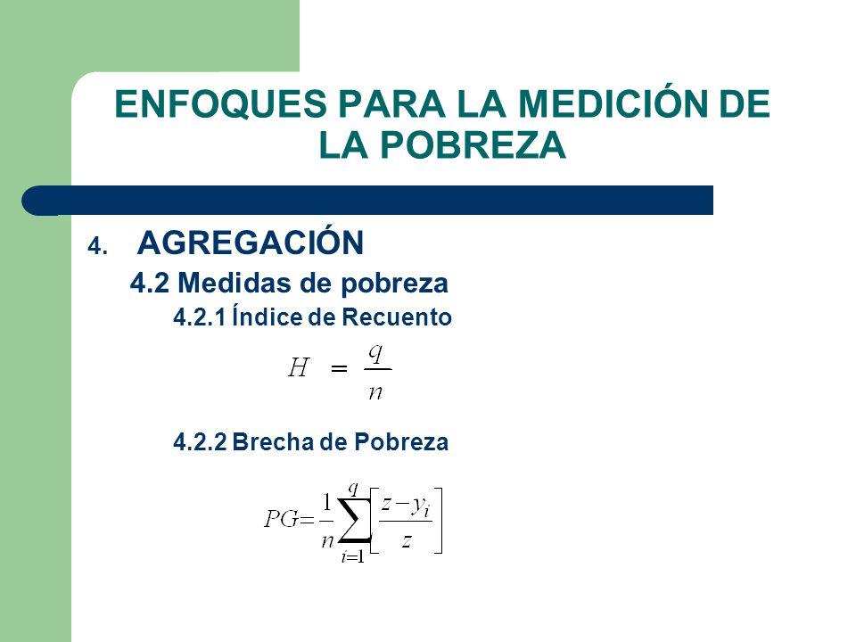 ENFOQUES PARA LA MEDICIÓN DE LA POBREZA 4. AGREGACIÓN 4.2 Medidas de pobreza 4.2.1 Índice de Recuento 4.2.2 Brecha de Pobreza