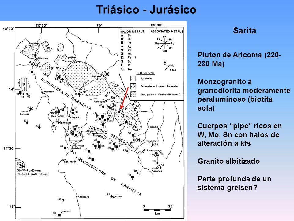 Triásico - Jurásico Sarita Pluton de Aricoma (220- 230 Ma) Monzogranito a granodiorita moderamente peraluminoso (biotita sola) Cuerpos pipe ricos en W