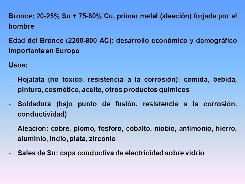 Bronce: 20-25% Sn + 75-80% Cu, primer metal (aleación) forjada por el hombre Edad del Bronce (2200-800 AC): desarrollo económico y demográfico importa