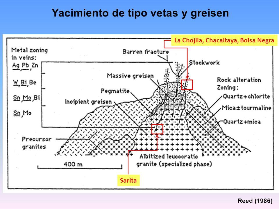 Yacimiento de tipo vetas y greisen Reed (1986) La Chojlla, Chacaltaya, Bolsa Negra Sarita