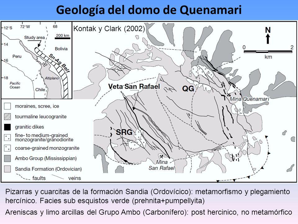 Kontak y Clark (2002) Geología del domo de Quenamari Pizarras y cuarcitas de la formación Sandia (Ordovícico): metamorfismo y plegamiento hercínico. F
