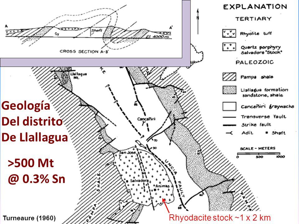 Turneaure (1960) Geología Del distrito De Llallagua Rhyodacite stock ~1 x 2 km >500 Mt @ 0.3% Sn