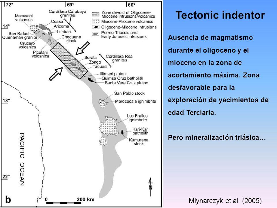 Tectonic indentor Mlynarczyk et al. (2005) Ausencia de magmatismo durante el oligoceno y el mioceno en la zona de acortamiento máxima. Zona desfavorab