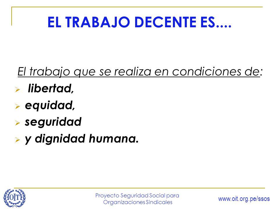 www.oit.org.pe/ssos Proyecto Seguridad Social para Organizaciones Sindicales EL TRABAJO DECENTE ES.... El trabajo que se realiza en condiciones de: li
