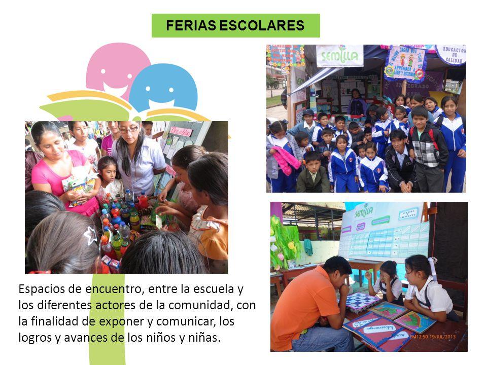 FERIAS ESCOLARES Espacios de encuentro, entre la escuela y los diferentes actores de la comunidad, con la finalidad de exponer y comunicar, los logros y avances de los niños y niñas.