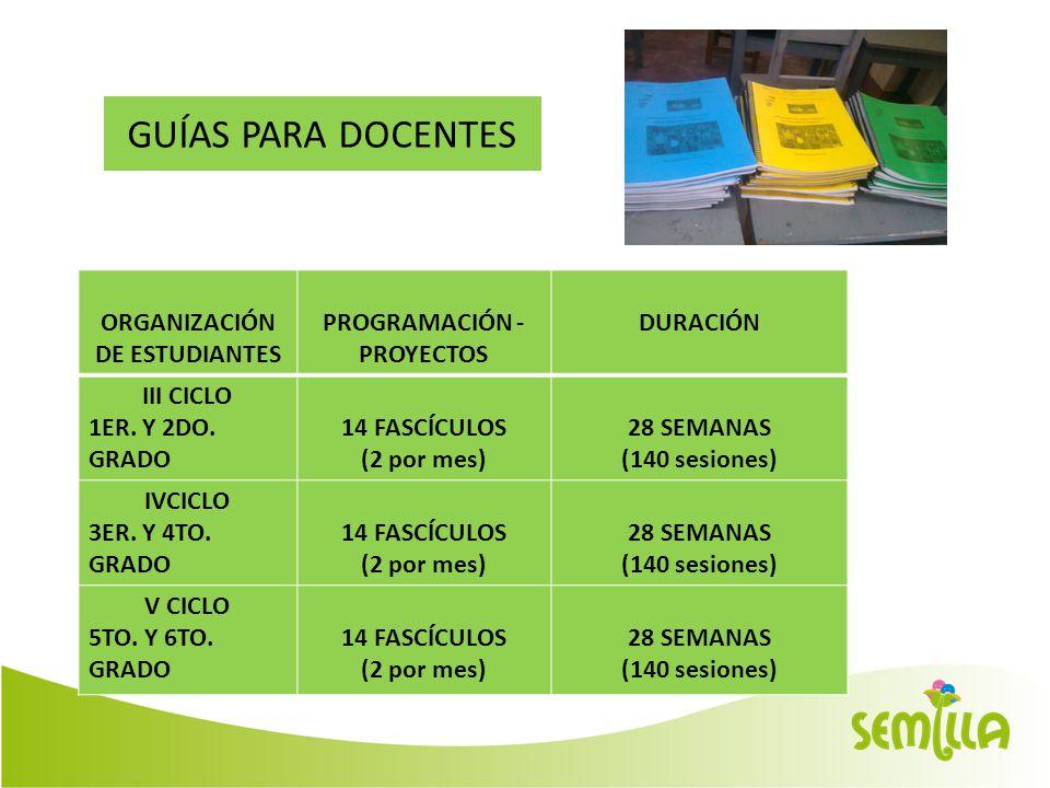 GUÍAS PARA DOCENTES ORGANIZACIÓN DE ESTUDIANTES PROGRAMACIÓN - PROYECTOS DURACIÓN III CICLO 1ER.
