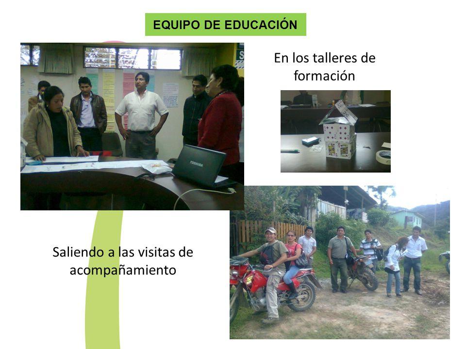 EQUIPO DE EDUCACIÓN En los talleres de formación Saliendo a las visitas de acompañamiento