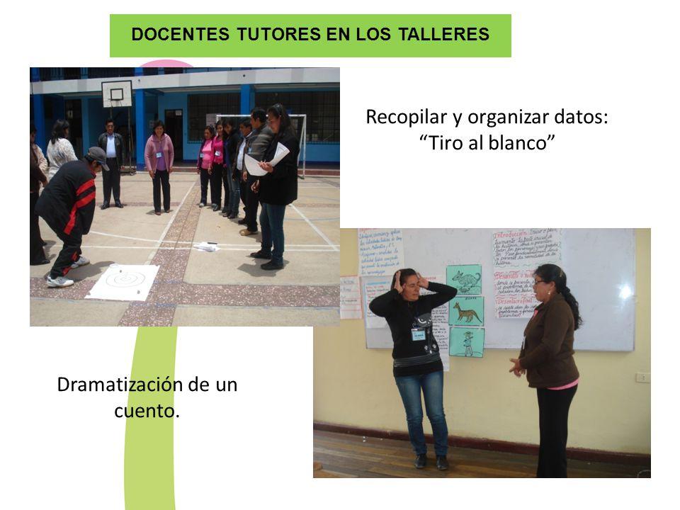 DOCENTES TUTORES EN LOS TALLERES Recopilar y organizar datos: Tiro al blanco Dramatización de un cuento.