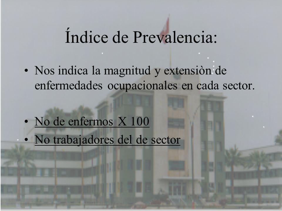 Índice de Prevalencia: Nos indica la magnitud y extensiòn de enfermedades ocupacionales en cada sector. No de enfermos X 100 No trabajadores del de se
