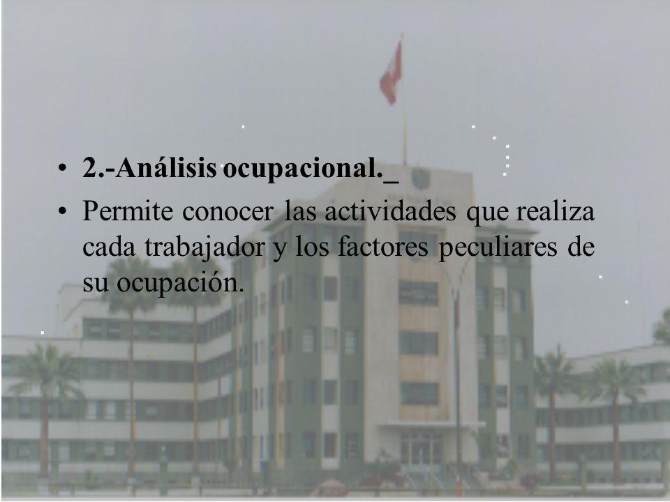 2.-Análisis ocupacional._ Permite conocer las actividades que realiza cada trabajador y los factores peculiares de su ocupación.