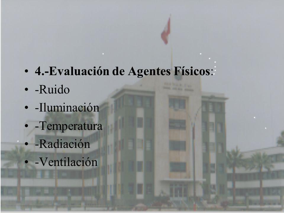4.-Evaluación de Agentes Físicos: -Ruido -Iluminación -Temperatura -Radiación -Ventilación