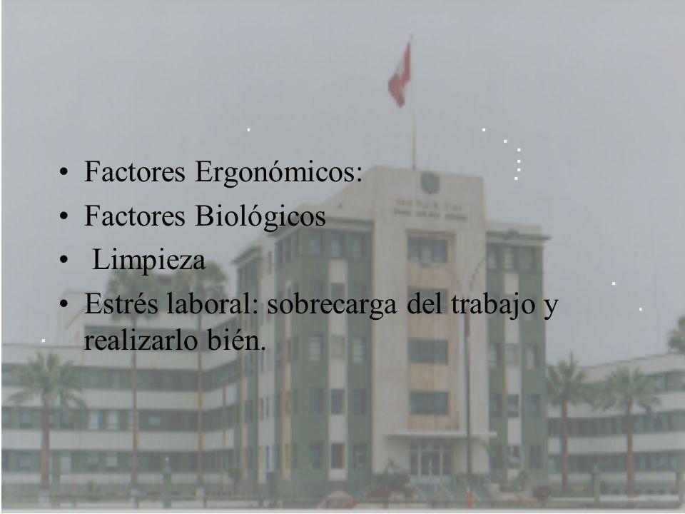Factores Ergonómicos: Factores Biológicos Limpieza Estrés laboral: sobrecarga del trabajo y realizarlo bién.