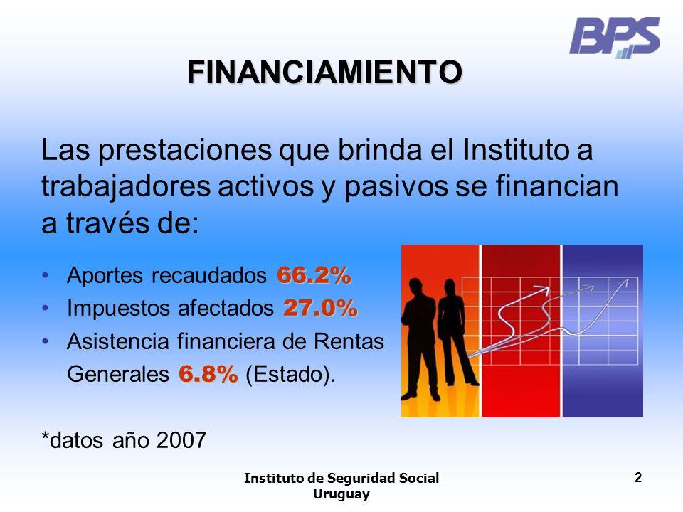Instituto de Seguridad Social Uruguay 2 FINANCIAMIENTO Las prestaciones que brinda el Instituto a trabajadores activos y pasivos se financian a través
