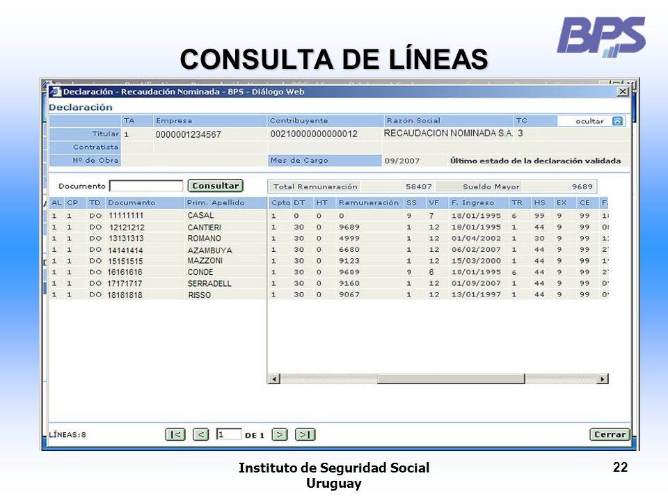 Instituto de Seguridad Social Uruguay 22 CONSULTA DE LÍNEAS