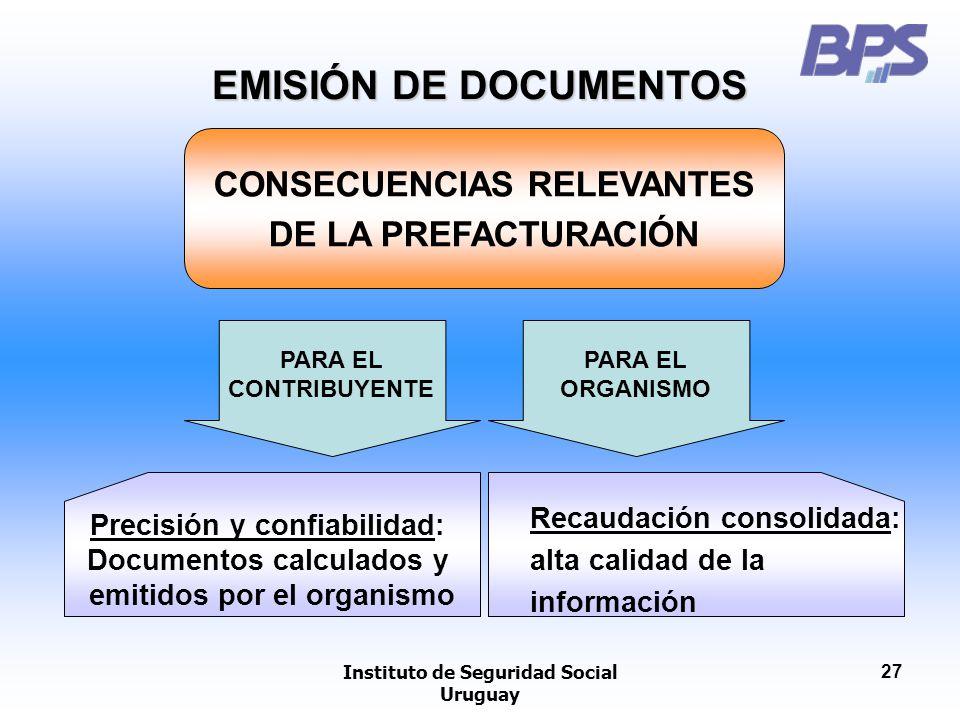 Instituto de Seguridad Social Uruguay 27 CONSECUENCIAS RELEVANTES DE LA PREFACTURACIÓN PARA EL CONTRIBUYENTE Precisión y confiabilidad: Documentos cal