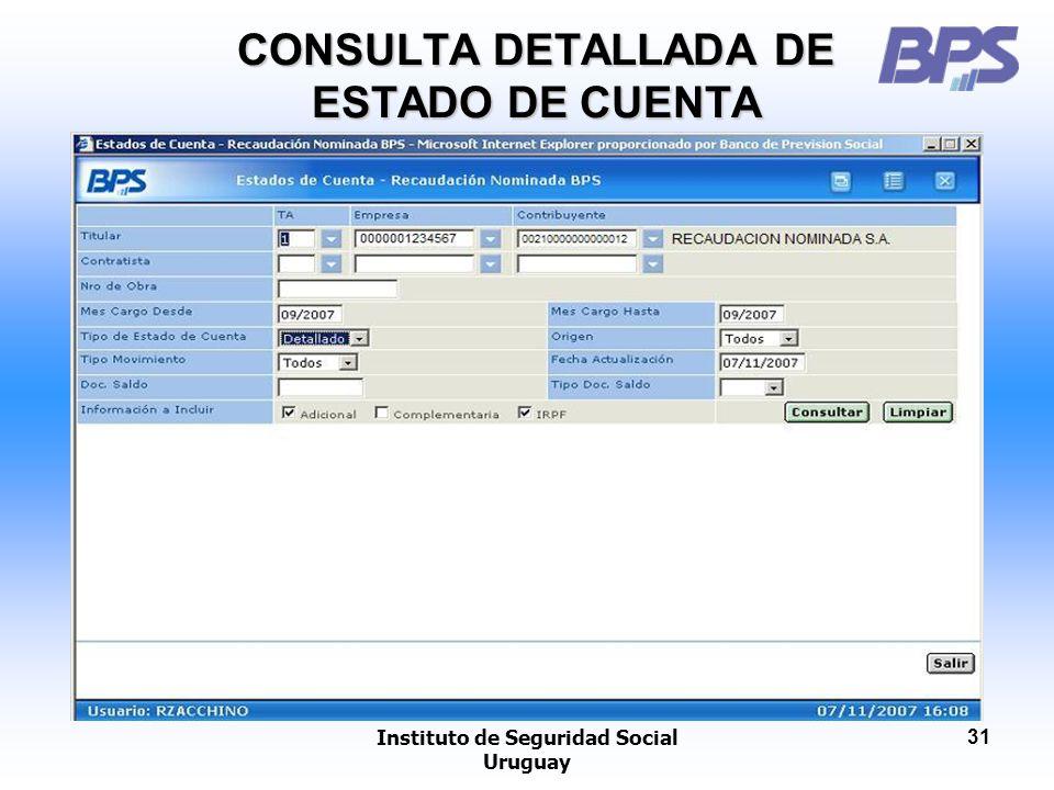 Instituto de Seguridad Social Uruguay 31 CONSULTA DETALLADA DE ESTADO DE CUENTA