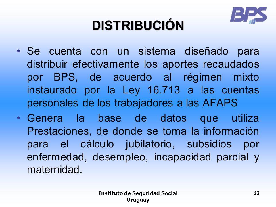 Instituto de Seguridad Social Uruguay 33 DISTRIBUCIÓN Se cuenta con un sistema diseñado para distribuir efectivamente los aportes recaudados por BPS,