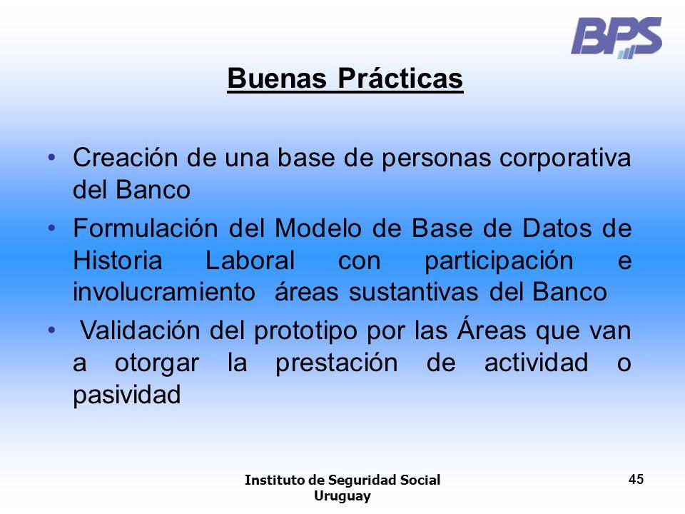 Instituto de Seguridad Social Uruguay 45 Buenas Prácticas Creación de una base de personas corporativa del Banco Formulación del Modelo de Base de Dat