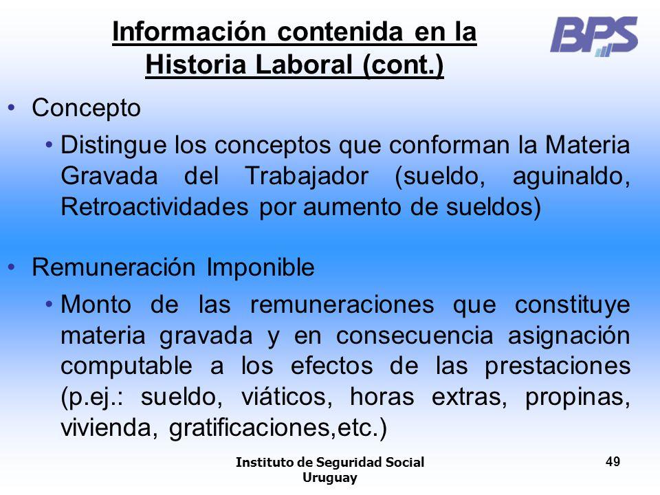 Instituto de Seguridad Social Uruguay 49 Concepto Distingue los conceptos que conforman la Materia Gravada del Trabajador (sueldo, aguinaldo, Retroact