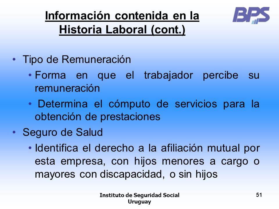 Instituto de Seguridad Social Uruguay 51 Información contenida en la Historia Laboral (cont.) Tipo de Remuneración Forma en que el trabajador percibe