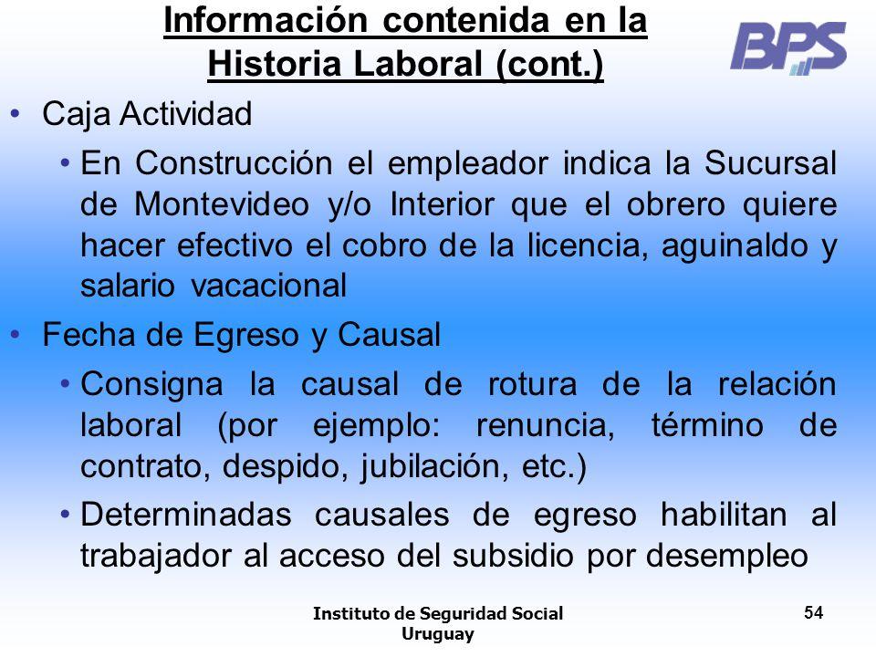 Instituto de Seguridad Social Uruguay 54 Información contenida en la Historia Laboral (cont.) Caja Actividad En Construcción el empleador indica la Su