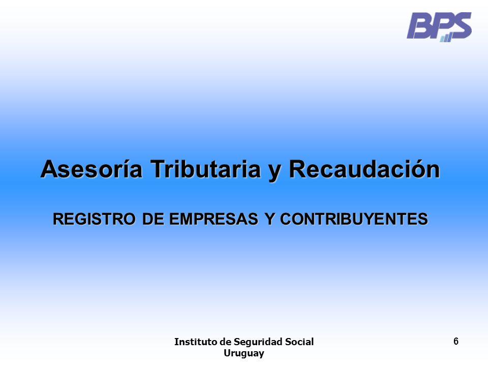 Instituto de Seguridad Social Uruguay 7 DATOS RELEVADOS Y REGISTRADOS REGISTRO DE OBRAS IDENTIFICACIÓN DEL LUGAR: Nro.
