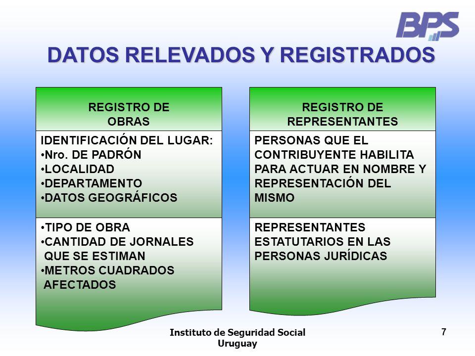 Instituto de Seguridad Social Uruguay 7 DATOS RELEVADOS Y REGISTRADOS REGISTRO DE OBRAS IDENTIFICACIÓN DEL LUGAR: Nro. DE PADRÓN LOCALIDAD DEPARTAMENT