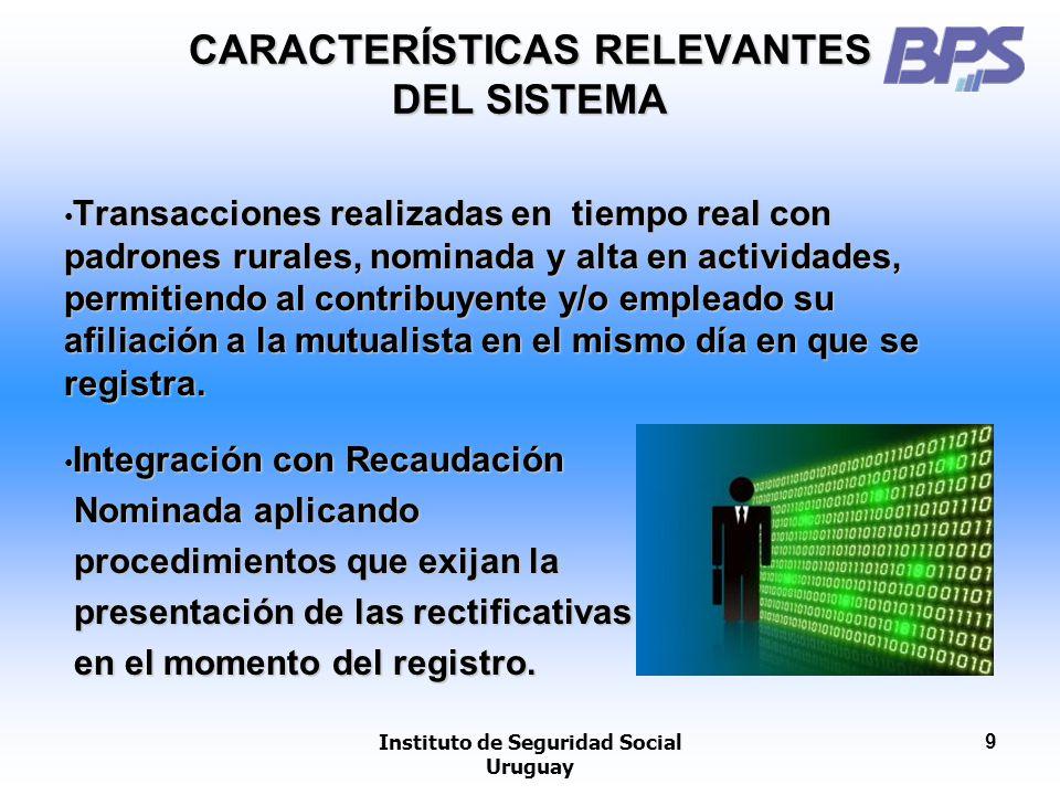 Instituto de Seguridad Social Uruguay 9 CARACTERÍSTICAS RELEVANTES DEL SISTEMA Transacciones realizadas en tiempo real con padrones rurales, nominada
