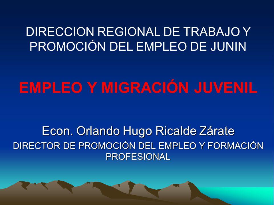 Econ. Orlando Hugo Ricalde Zárate DIRECTOR DE PROMOCIÓN DEL EMPLEO Y FORMACIÓN PROFESIONAL EMPLEO Y MIGRACIÓN JUVENIL DIRECCION REGIONAL DE TRABAJO Y