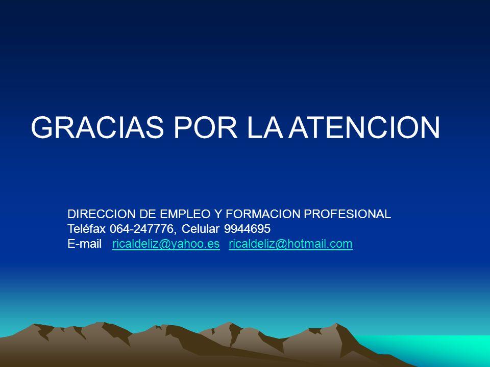 GRACIAS POR LA ATENCION DIRECCION DE EMPLEO Y FORMACION PROFESIONAL Teléfax 064-247776, Celular 9944695 E-mail ricaldeliz@yahoo.es ricaldeliz@hotmail.