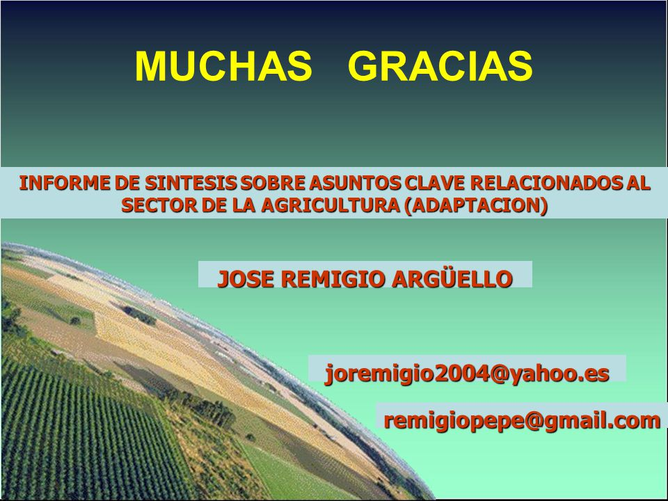 MUCHAS GRACIAS INFORME DE SINTESIS SOBRE ASUNTOS CLAVE RELACIONADOS AL SECTOR DE LA AGRICULTURA (ADAPTACION) JOSE REMIGIO ARGÜELLO joremigio2004@yahoo.es remigiopepe@gmail.com