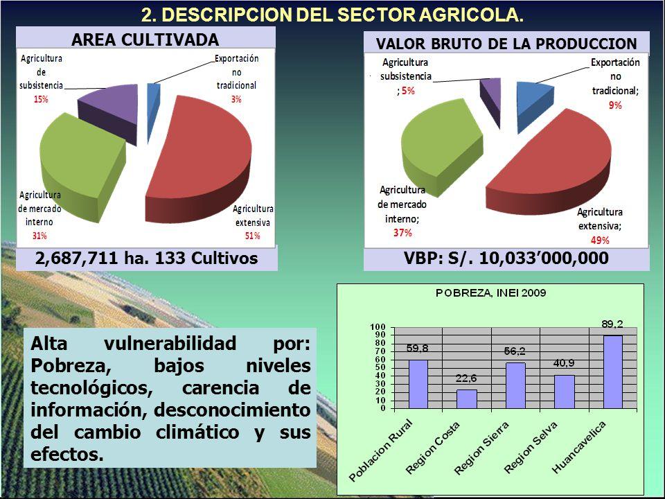2. DESCRIPCION DEL SECTOR AGRICOLA. Alta vulnerabilidad por: Pobreza, bajos niveles tecnológicos, carencia de información, desconocimiento del cambio