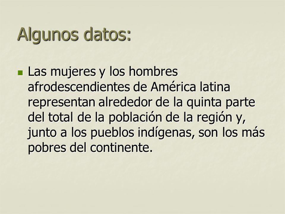 Algunos datos: Las mujeres y los hombres afrodescendientes de América latina representan alrededor de la quinta parte del total de la población de la