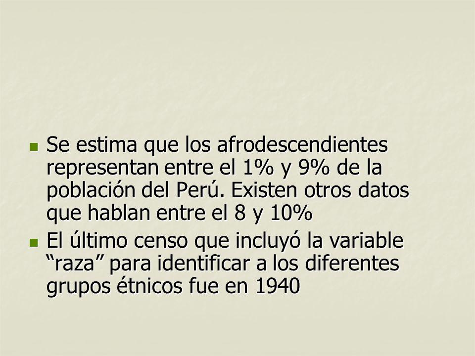 Se estima que los afrodescendientes representan entre el 1% y 9% de la población del Perú. Existen otros datos que hablan entre el 8 y 10% Se estima q