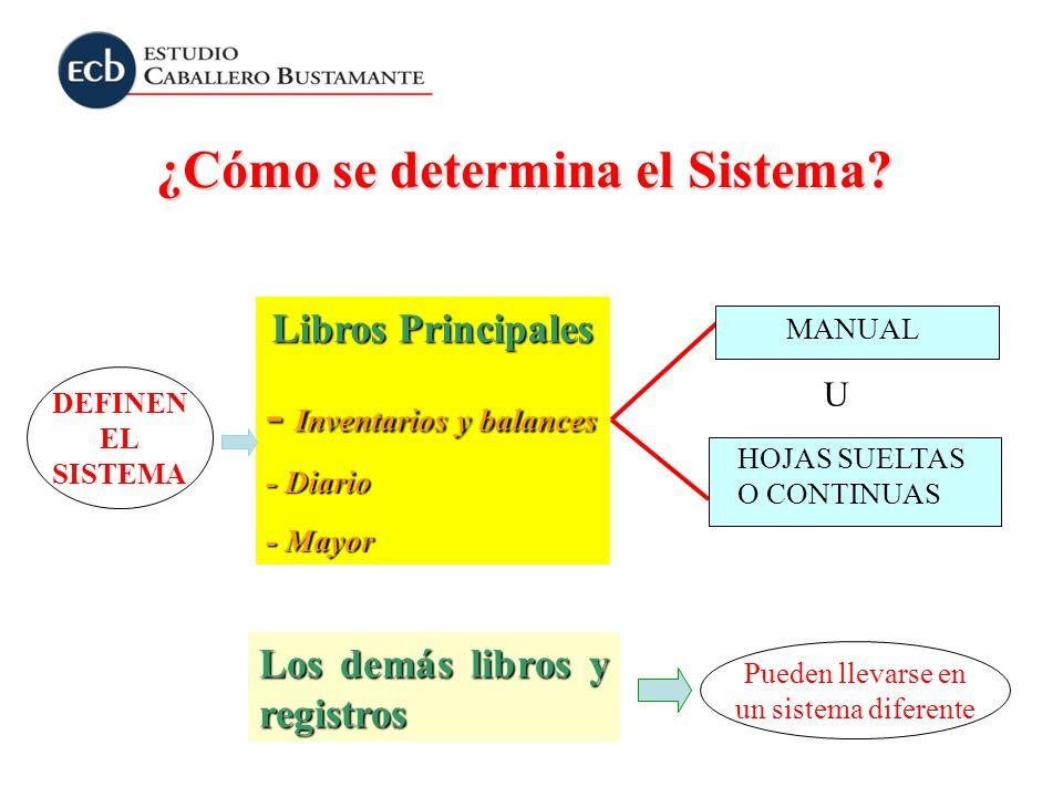 ¿Cómo se determina el Sistema? Libros Principales - Inventarios y balances - Diario - Mayor Los demás libros y registros MANUAL HOJAS SUELTAS O CONTIN