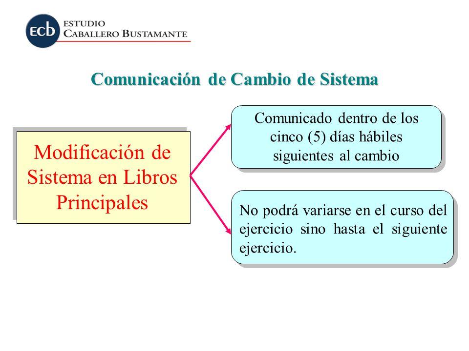 Comunicación de Cambio de Sistema Modificación de Sistema en Libros Principales Comunicado dentro de los cinco (5) días hábiles siguientes al cambio N