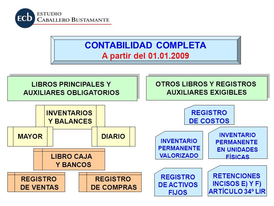 LIBROS PRINCIPALES Y AUXILIARES OBLIGATORIOS LIBROS PRINCIPALES Y AUXILIARES OBLIGATORIOS OTROS LIBROS Y REGISTROS AUXILIARES EXIGIBLES OTROS LIBROS Y