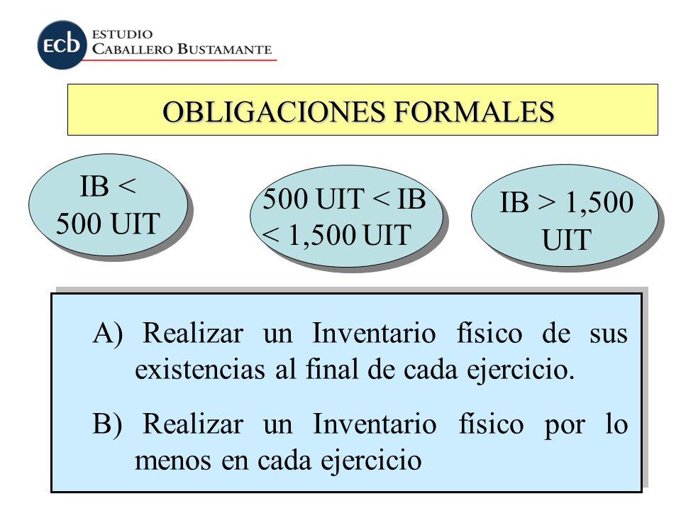 OBLIGACIONES FORMALES IB < 500 UIT A) Realizar un Inventario físico de sus existencias al final de cada ejercicio. B) Realizar un Inventario físico po