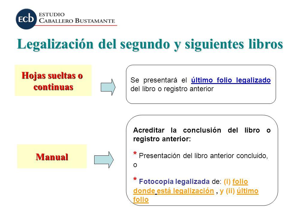 Legalización del segundo y siguientes libros Hojas sueltas o continuas Manual Se presentará el último folio legalizado del libro o registro anterior A