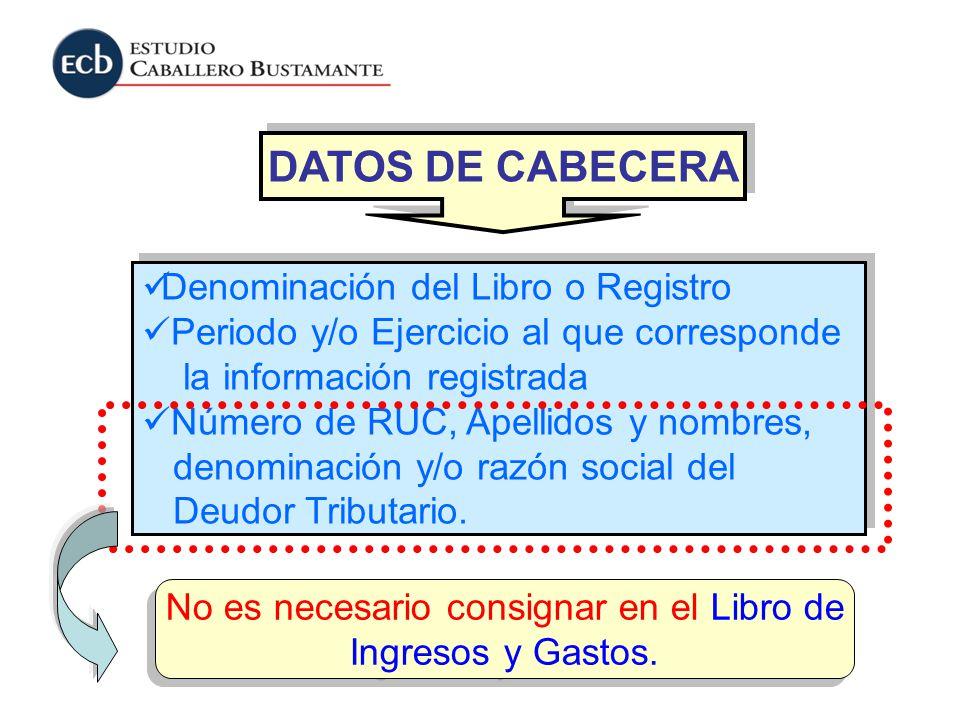 DATOS DE CABECERA Denominación del Libro o Registro Periodo y/o Ejercicio al que corresponde la información registrada Número de RUC, Apellidos y nomb
