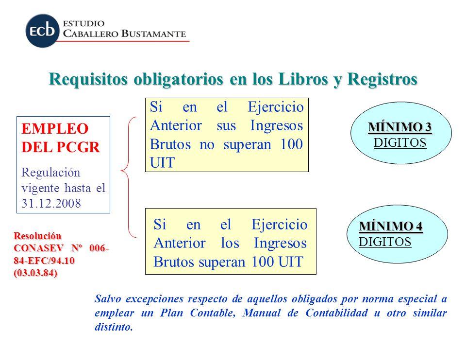 Requisitos obligatorios en los Libros y Registros MÍNIMO 4 MÍNIMO 4 DIGITOS MÍNIMO 3 MÍNIMO 3 DIGITOS Si en el Ejercicio Anterior sus Ingresos Brutos