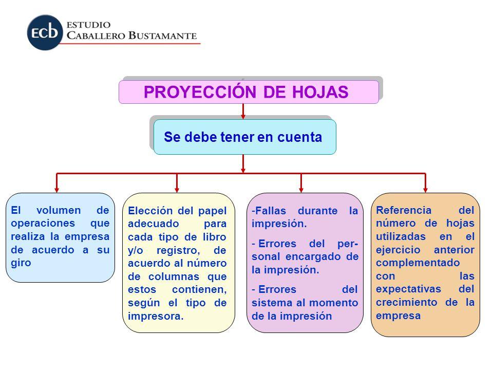 Se debe tener en cuenta PROYECCIÓN DE HOJAS El volumen de operaciones que realiza la empresa de acuerdo a su giro Elección del papel adecuado para cad