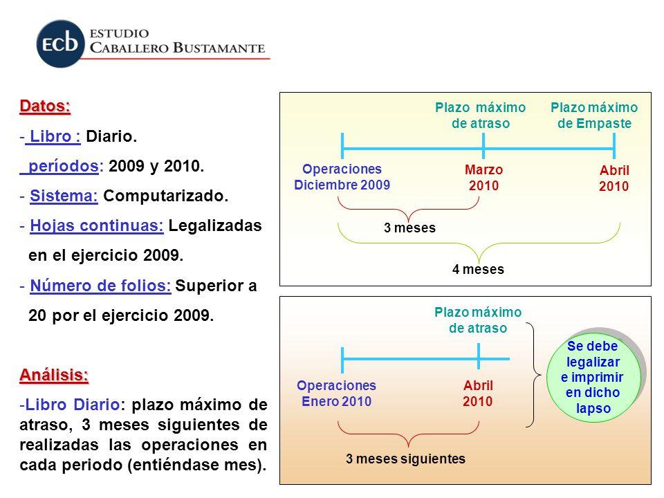Datos: - Libro : Diario. períodos: 2009 y 2010. - Sistema: Computarizado. - Hojas continuas: Legalizadas en el ejercicio 2009. - Número de folios: Sup