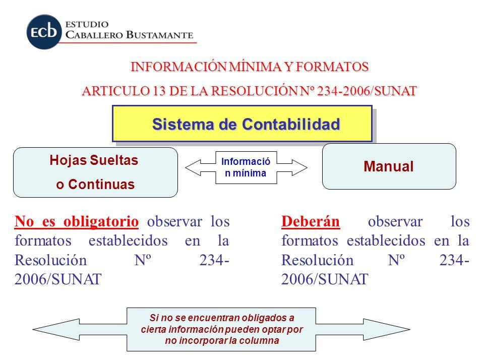 INFORMACIÓN MÍNIMA Y FORMATOS ARTICULO 13 DE LA RESOLUCIÓN Nº 234-2006/SUNAT Deberán observar los formatos establecidos en la Resolución Nº 234- 2006/