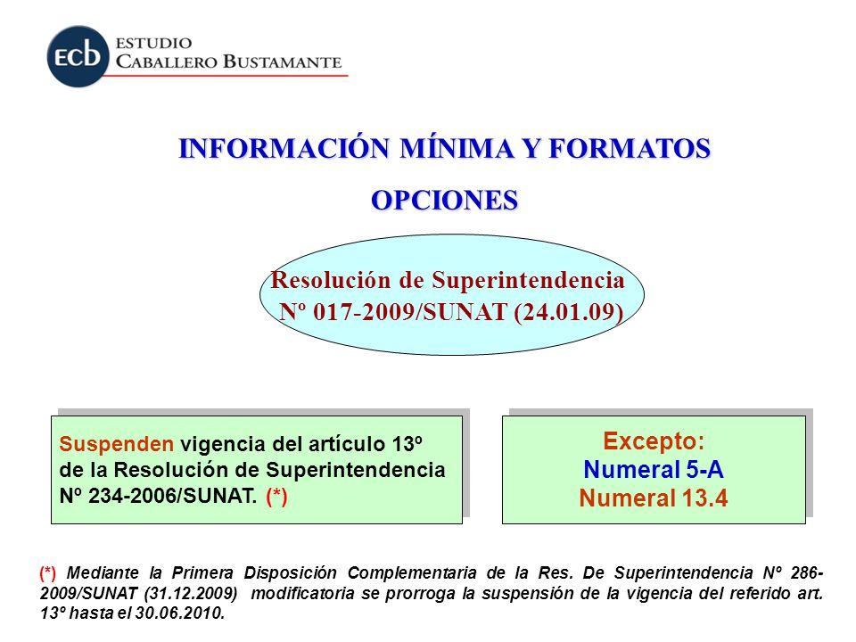 INFORMACIÓN MÍNIMA Y FORMATOS OPCIONES Suspenden vigencia del artículo 13º de la Resolución de Superintendencia Nº 234-2006/SUNAT. (*) Suspenden vigen
